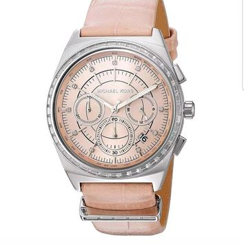 Michael Kors Women's MK2615 'Vail' Chronograph Crystal Pink Leather Watch