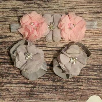 Gray and Pink Triple Chiffon Headband and Barefoot Sandals Set