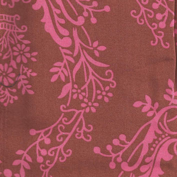 Brown with Pink Damask print 1/2 yard Cotton Fabric