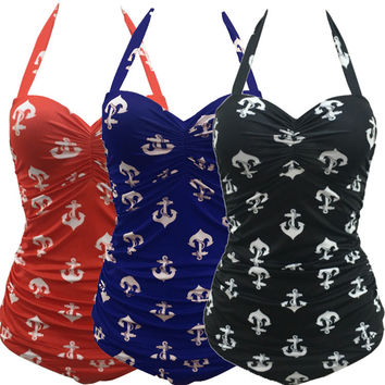 Retro Anchor Print Swimsuit Halter One Piece Swimsuit