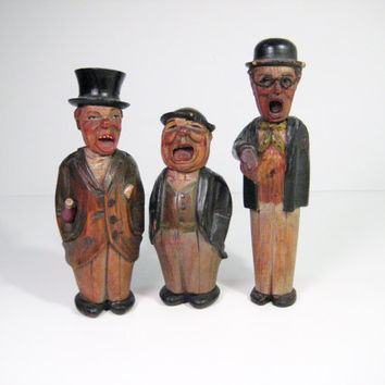 Antique Anri Austria Old Soak Bar Wood Figurines Wooden Bar Keepers Set