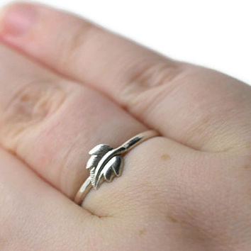Autumn Leaf Ring, Nature Ring, Sterling Silver Charm Ring, Fall Jewelry