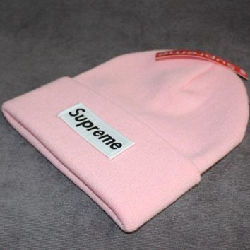 PEAPJ1A Supreme tide brand cold hat warm winter hat ski hat patch letters wool cap Pink