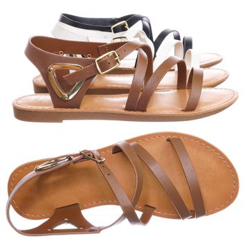 Velum2 Girls Gladiator Strappy Flat Sandal - Kids Children Open Toe Summer Shoe