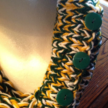 Green Bay Packers Oakland A's Team Spirit Infinity Chunky Finger Knit Winter Scarf