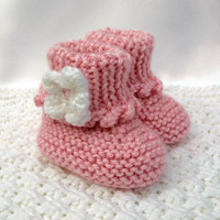 Pink Baby Booties Hand Knit Baby Booties Newborn Infant Girl Shoes