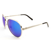 Metal Aviator Sunglasses with Revo Color Mirror Lens