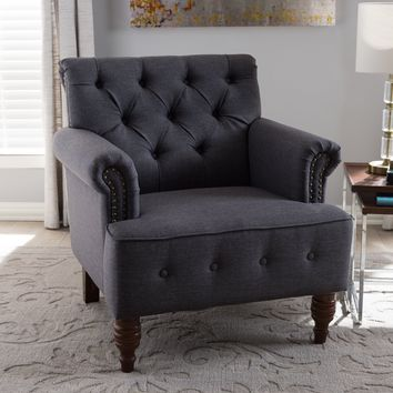 Baxton Studio Christa Modern and Contemporary Dark Grey Fabric Upholstered Walnut Wood Button-Tufted Armchair Set of 1