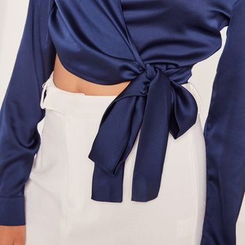 Missguided - Long Sleeve Satin Wrap Front Crop Navy