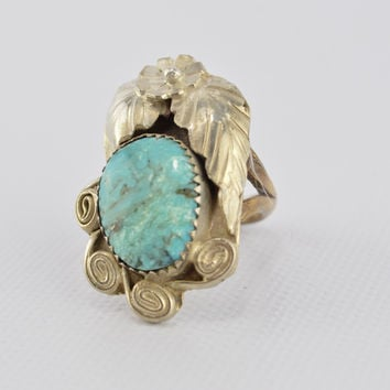 Old Pawn Turquoise Ring  Sterling Silver Southwestern Flower Design