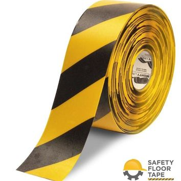 """4"""" Yellow Floor Tape with Black Chevrons - 100'  Roll"""
