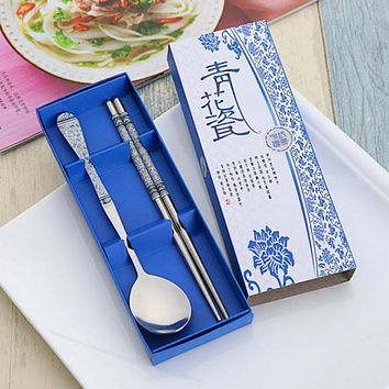 New Hot 5Colors China\'s Wind Tableware Porcelain Set Lunch Colorful Dinnerware With Box Kitchen Tool Gifts Tableware
