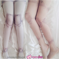[3 For 2] White/Skin Harajuku Puppet Ball-joint Doll Tattoo Tights SP130069 from SpreePicky