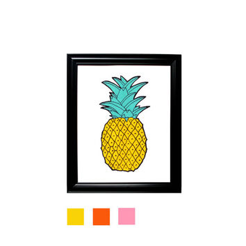 Pineapple Print Yellow Orange Pink Wall Hanging