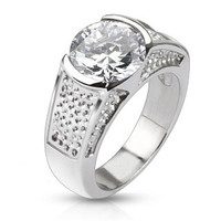 Winter Wonderland -  FINAL SALE Sophisticated Wide Stainless Steel Band with Large Round Cut Center Cubic Zirconias