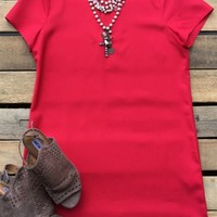 Short sleeve V neck solid dress
