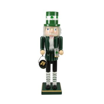 "14"" Luck of the Irish Decorative Wooden Christmas Nutcracker Leprechaun with Pot O' Gold"