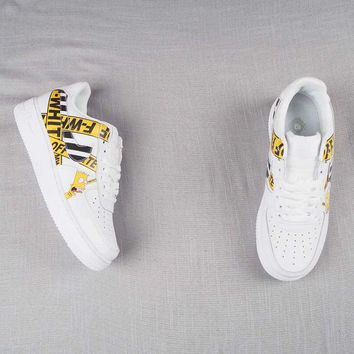 HCXX N311 Nike Air Force 1 x Off White x Simpsons Casual Skate Shoes White Yellow