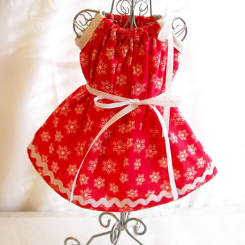 MADE TO ORDER, Red with Snowflakes Handmade 18