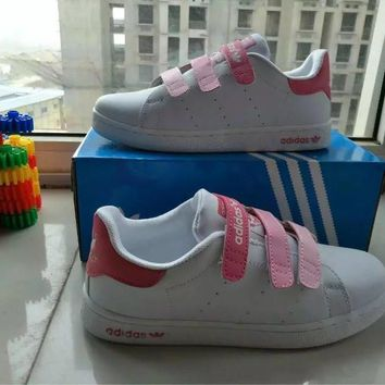 Adidas STAN SMITH Fashion Casual Plate Shoes Sneakers Women Velcro Small White Shoes