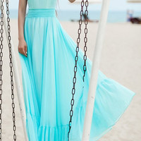 Bohemian Retro Style V-Neck Sleeveless Maxi Dress