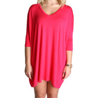 Fuchsia Piko Tunic V-Neck Half Sleeve Dress
