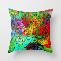 BUTTERFLY FEVER - Bold Rainbow Butterflies Fairy Garden Magical Bright Abstract Acrylic Painting Throw Pillow by EbiEmporium | Society6