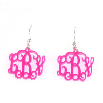 Monogrammed Floating Acrylic Earrings