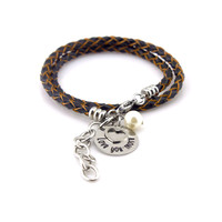 Love You More Black & Tan Leather Wrap