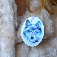 Wolf wood brooch Wolf jewelry pin teen girl badge