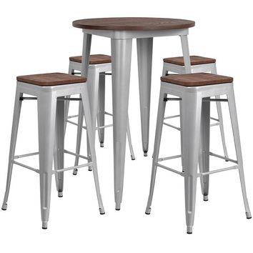 """30"""" Round Metal Bar Table Set with Wood Top and 4 Backless Stools"""