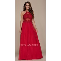 Halter Appliqued Bodice Long Prom Dress Cut Out Back Red