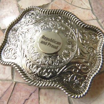 Republican GOP Silver Belt Buckle, 2016 Election Political President Election, President. Donal Trump, Ted Cruz, Marco Rubio Mens Womens