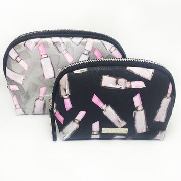 Pink Lipstick Glitter Vinyl Small Dome 2 Piece Cosmetic Bag Set
