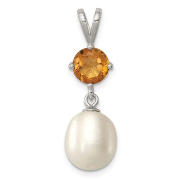 925 Sterling Silver Citrine and 8-9mm FW Cultured Pearl Teardrop Pendant