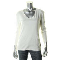 Jones New York Womens Cotton V-Neck Casual Top