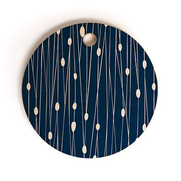 Heather Dutton Navy Entangled Cutting Board Round