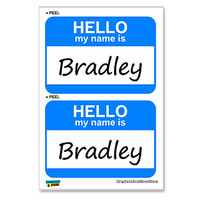 Bradley Hello My Name Is - Sheet of 2 Stickers