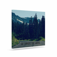 "Robin Dickinson ""Go Explore the World"" Green Blue Canvas Art"