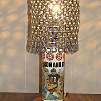 Vintage Iron City Beer Pittsburgh Men of Iron City Pirates, Steelers, Penguins Beer Can Lamp With Pull Tab Lampshade - The Mancave Essential