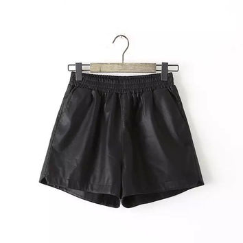 Winter PU Leather Casual Pants Shorts [6034607105]
