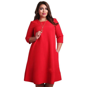 Dmart7deal Hot Fashion Women Plus Size Summer 3/4 Sleeve Dress Beach Casual Sundress H34 YRD