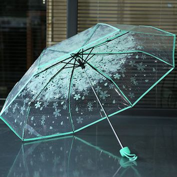 Hot sell 3 Fold Sun Rain Umbrella Rain Tools Woman Flowers Transparent Umbrella Beautiful