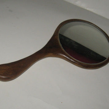 vintage beautiful wood with painted red rose hand makeup mirror