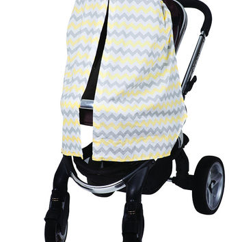 Stroller Canopy - Chevron Yellow - Bambella Designs