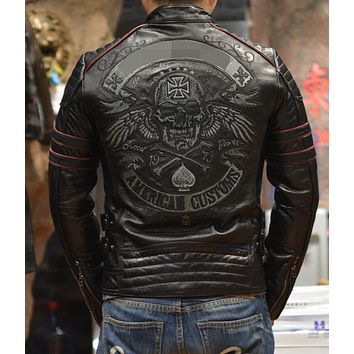2017 New Retro Mens geniune Leather short jacket young Harley Davidson leather jacket tide coat