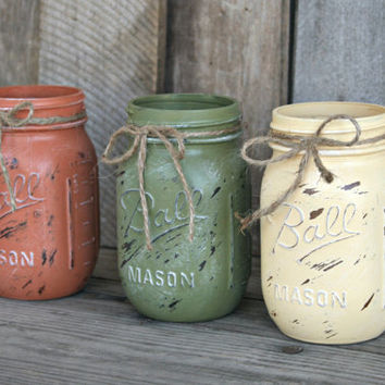 Home and Wedding Decor - Painted and Distressed Mason Jars, Vase or Organization