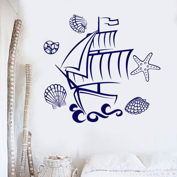 Vinyl Wall Decal Ship Marine Animals  Bathroom Decor Kids Room Starfish Stickers Unique Gift (ig3020)