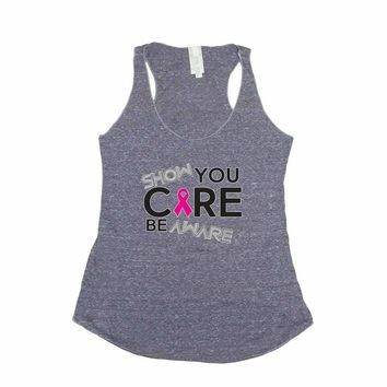 Women's Show You Care Be Aware Breast Cancer Awareness Trie Blend Tank DENIM