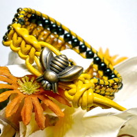 Honey Bee Yellow Leather Black Agate Topaz BOHO Crystal Cuff Bracelet